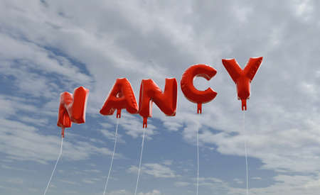 NANCY - red foil balloons on blue sky - 3D rendered royalty free stock picture. This image can be used for an online website banner ad or a print postcard. Stock Photo
