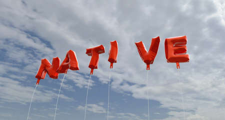 NATIVE - red foil balloons on blue sky - 3D rendered royalty free stock picture. This image can be used for an online website banner ad or a print postcard.