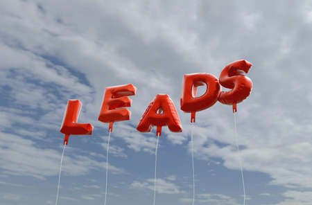 leads: LEADS - red foil balloons on blue sky - 3D rendered royalty free stock picture. This image can be used for an online website banner ad or a print postcard.