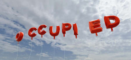occupied: OCCUPIED - red foil balloons on blue sky - 3D rendered royalty free stock picture. This image can be used for an online website banner ad or a print postcard.