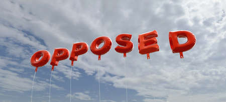 opposed: OPPOSED - red foil balloons on blue sky - 3D rendered royalty free stock picture. This image can be used for an online website banner ad or a print postcard. Stock Photo