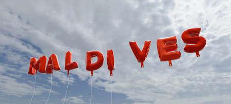 몰디브 - 빨간 호 풍선 푸른 하늘 -3D 렌더링 로열티 무료 재고 사진입니다. 이 이미지는 온라인 웹 사이트 배너 광고 또는 인쇄 엽서에 사용할 수 있습