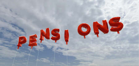 pensions: PENSIONS - red foil balloons on blue sky - 3D rendered royalty free stock picture. This image can be used for an online website banner ad or a print postcard.