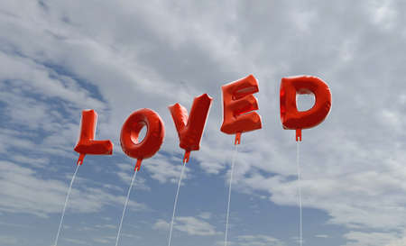 loved: LOVED - red foil balloons on blue sky - 3D rendered royalty free stock picture. This image can be used for an online website banner ad or a print postcard.