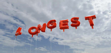 longest: LONGEST - red foil balloons on blue sky - 3D rendered royalty free stock picture. This image can be used for an online website banner ad or a print postcard.