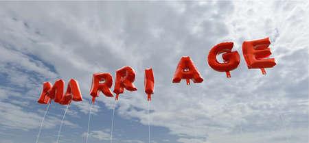 결혼 - 붉은 호 풍선 푸른 하늘 -3D 렌더링 로열티 무료 재고 사진입니다. 이 이미지는 온라인 웹 사이트 배너 광고 또는 인쇄 엽서에 사용할 수 있습니