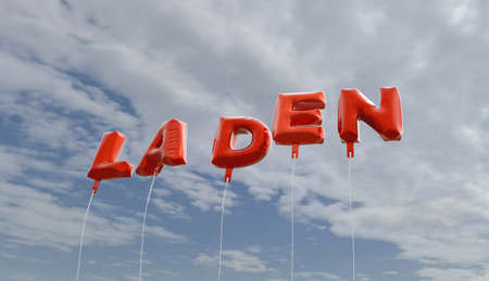 laden: LADEN - red foil balloons on blue sky - 3D rendered royalty free stock picture. This image can be used for an online website banner ad or a print postcard.