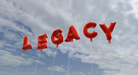 legacy: LEGACY - red foil balloons on blue sky - 3D rendered royalty free stock picture. This image can be used for an online website banner ad or a print postcard.