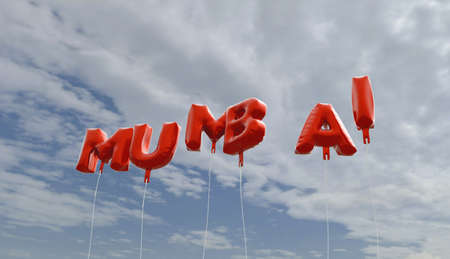 mumbai: MUMBAI - red foil balloons on blue sky - 3D rendered royalty free stock picture. This image can be used for an online website banner ad or a print postcard.