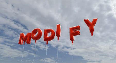 modificar: MODIFICAR - globos de la hoja de color rojo en el cielo azul - 3D representa la imagen de stock libres de derechos. Esta imagen se puede utilizar para un anuncio bandera del Web site en línea o una postal de impresión. Foto de archivo