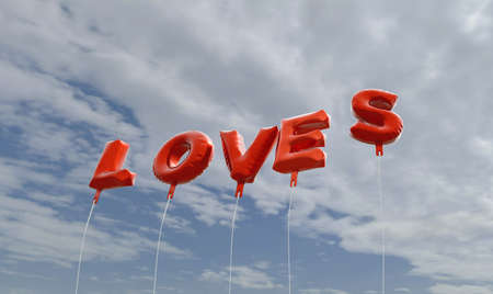 loves: LOVES - red foil balloons on blue sky - 3D rendered royalty free stock picture. This image can be used for an online website banner ad or a print postcard.