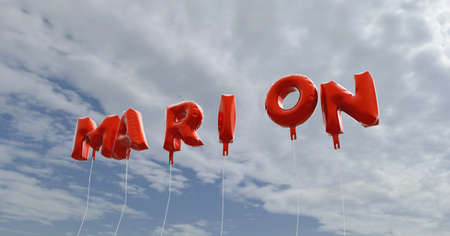 marion: MARION - red foil balloons on blue sky - 3D rendered royalty free stock picture. This image can be used for an online website banner ad or a print postcard.