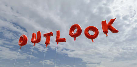 OUTLOOK - red foil balloons on blue sky - 3D rendered royalty free stock picture. This image can be used for an online website banner ad or a print postcard.