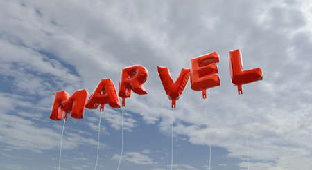 marvel: MARVEL - red foil balloons on blue sky - 3D rendered royalty free stock picture. This image can be used for an online website banner ad or a print postcard. Stock Photo