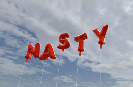 nasty: NASTY - red foil balloons on blue sky - 3D rendered royalty free stock picture. This image can be used for an online website banner ad or a print postcard.