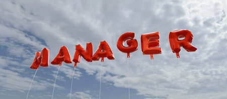 3d manager: MANAGER - red foil balloons on blue sky - 3D rendered royalty free stock picture. This image can be used for an online website banner ad or a print postcard. Stock Photo