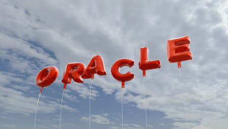 ORACLE - red foil balloons on blue sky - 3D rendered royalty free stock picture. This image can be used for an online website banner ad or a print postcard.