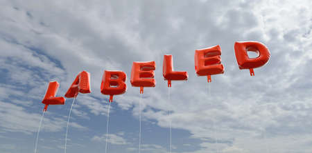 labeled: LABELED - red foil balloons on blue sky - 3D rendered royalty free stock picture. This image can be used for an online website banner ad or a print postcard.