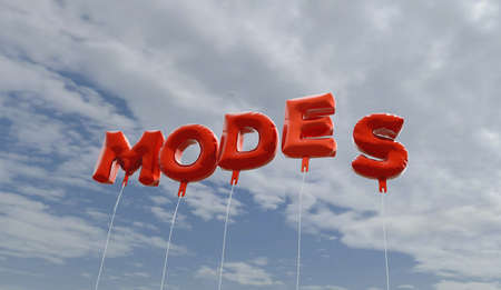 modes: MODES - red foil balloons on blue sky - 3D rendered royalty free stock picture. This image can be used for an online website banner ad or a print postcard.