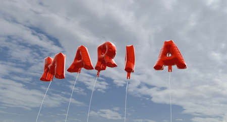 maria: MARIA - red foil balloons on blue sky - 3D rendered royalty free stock picture. This image can be used for an online website banner ad or a print postcard. Stock Photo