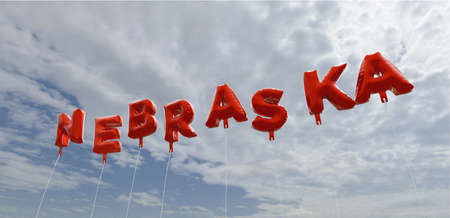nebraska: NEBRASKA - red foil balloons on blue sky - 3D rendered royalty free stock picture. This image can be used for an online website banner ad or a print postcard.