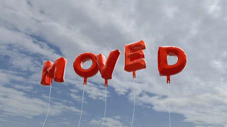 BEWEGT - rote Folienballons auf blauem Himmel - 3D gerendert lizenzfreie Bild. Dieses Bild kann für eine Online-Website-Banner-Anzeige oder eine Druck-Postkarte verwendet werden. Standard-Bild