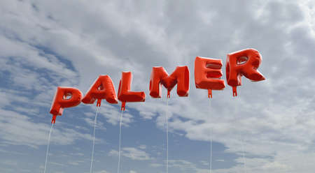 PALMER - red foil balloons on blue sky - 3D rendered royalty free stock picture. This image can be used for an online website banner ad or a print postcard. Stock Photo