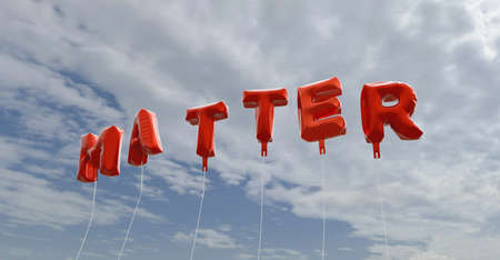 matter: MATTER - red foil balloons on blue sky - 3D rendered royalty free stock picture. This image can be used for an online website banner ad or a print postcard.