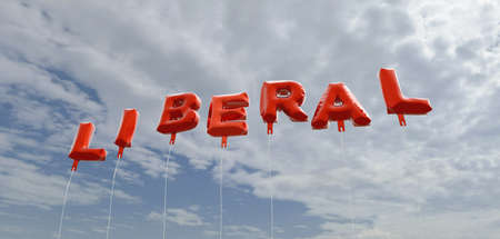 liberal: LIBERAL - red foil balloons on blue sky - 3D rendered royalty free stock picture. This image can be used for an online website banner ad or a print postcard. Stock Photo