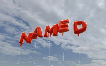 NAMED - red foil balloons on blue sky - 3D rendered royalty free stock picture. This image can be used for an online website banner ad or a print postcard.