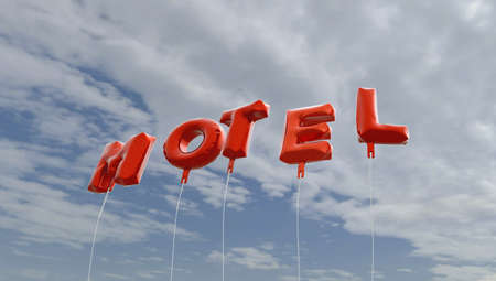 royalty free: MOTEL - red foil balloons on blue sky - 3D rendered royalty free stock picture. This image can be used for an online website banner ad or a print postcard.
