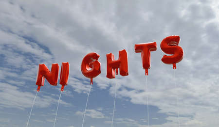 nights: NIGHTS - red foil balloons on blue sky - 3D rendered royalty free stock picture. This image can be used for an online website banner ad or a print postcard. Stock Photo