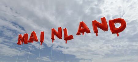 mainland: MAINLAND - red foil balloons on blue sky - 3D rendered royalty free stock picture. This image can be used for an online website banner ad or a print postcard.