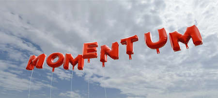 copy text: MOMENTUM - red foil balloons on blue sky - 3D rendered royalty free stock picture. This image can be used for an online website banner ad or a print postcard.