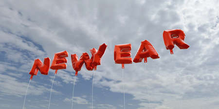 newyear: NEWYEAR - red foil balloons on blue sky - 3D rendered royalty free stock picture. This image can be used for an online website banner ad or a print postcard. Stock Photo