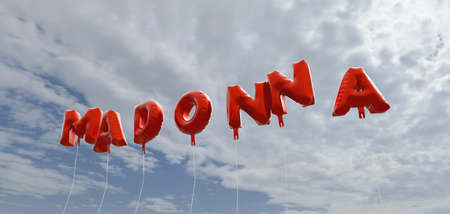 MADONNA - red foil balloons on blue sky - 3D rendered royalty free stock picture. This image can be used for an online website banner ad or a print postcard.