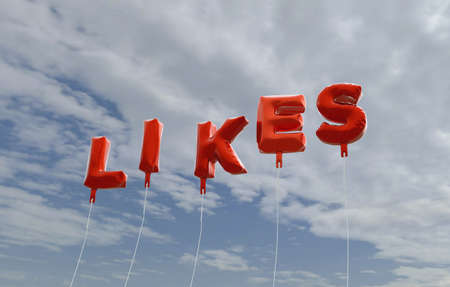 likes: LIKES - red foil balloons on blue sky - 3D rendered royalty free stock picture. This image can be used for an online website banner ad or a print postcard. Stock Photo