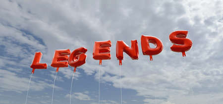 legends: LEGENDS - red foil balloons on blue sky - 3D rendered royalty free stock picture. This image can be used for an online website banner ad or a print postcard.