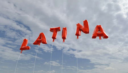latina: LATINA - red foil balloons on blue sky - 3D rendered royalty free stock picture. This image can be used for an online website banner ad or a print postcard.