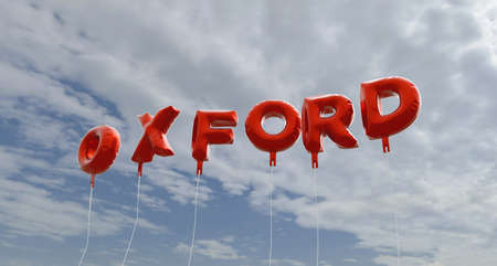 OXFORD - red foil balloons on blue sky - 3D rendered royalty free stock picture. This image can be used for an online website banner ad or a print postcard.