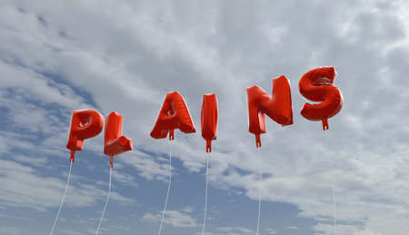PLAINS - red foil balloons on blue sky - 3D rendered royalty free stock picture. This image can be used for an online website banner ad or a print postcard.