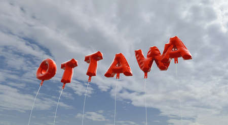 OTTAWA - red foil balloons on blue sky - 3D rendered royalty free stock picture. This image can be used for an online website banner ad or a print postcard.