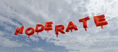 moderate: MODERATE - red foil balloons on blue sky - 3D rendered royalty free stock picture. This image can be used for an online website banner ad or a print postcard. Stock Photo