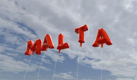 몰타 - 푸른 하늘 -3d에 빨간색 호 풍선 풍선 렌더링 로열티 무료 재고 사진입니다. 이 이미지는 온라인 웹 사이트 배너 광고 또는 인쇄 엽서에 사용할