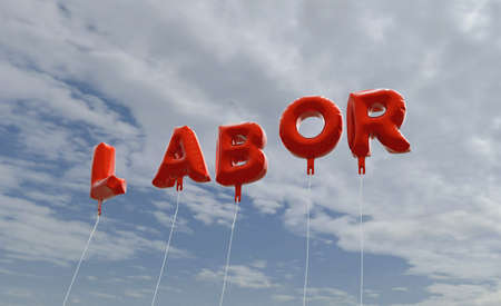 LABOR - red foil balloons on blue sky - 3D rendered royalty free stock picture. This image can be used for an online website banner ad or a print postcard. Stock Photo