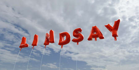 LINDSAY - red foil balloons on blue sky - 3D rendered royalty free stock picture. This image can be used for an online website banner ad or a print postcard.