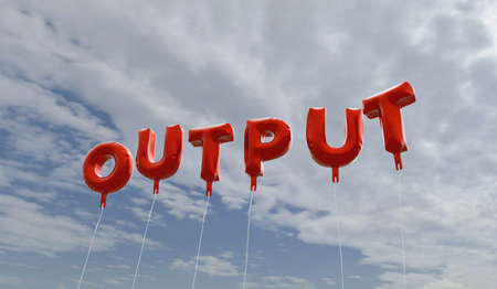OUTPUT - red foil balloons on blue sky - 3D rendered royalty free stock picture. This image can be used for an online website banner ad or a print postcard.