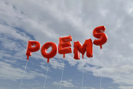 poems: POEMS - red foil balloons on blue sky - 3D rendered royalty free stock picture. This image can be used for an online website banner ad or a print postcard.