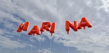 マリーナ - 青い空に赤箔バルーン - 3 D レンダリングされたロイヤリティ フリー ストック画像。この画像は、オンラインの web サイトのバナー広告や