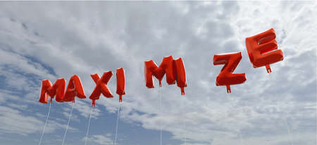 MAXIMIZE - red foil balloons on blue sky - 3D rendered royalty free stock picture. This image can be used for an online website banner ad or a print postcard.
